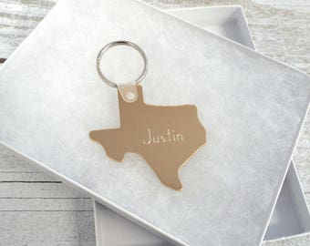 Engraved Brass Texas Key Chain