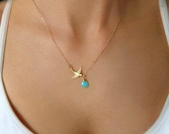 Gold Bird Necklace, Sparrow Necklace, Tiny Bird Necklace, Dainty Bird Necklace, Bird Jewelry, Flying Bird Necklace, Bird Charm Necklace
