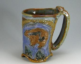 Bear, Eagle Mug, Carved Stoneware  Hand-built Mug (#35)
