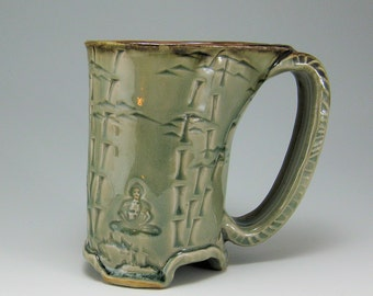 Buddha Bamboo Mug, 14oz Carved Hand-built Stoneware Mug  (#45)