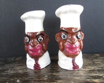 Sale Black Memorabilia Chef Salt & Pepper Shakers