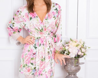 Bright Floral Bridal Robe