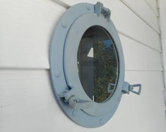Naval grey 11 inch cast aluminum porthole mirror / beach decor / nautical decor