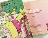 French Vocabulary Cards, Pink Box, Cassette Tape, Cartoon Cards, Vis Ed Springfield Ohio, 1970s 1980s, Learn French, Display, Upcycle, Craft