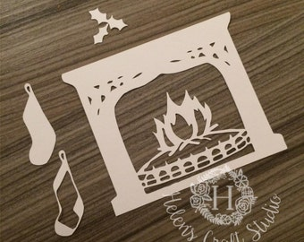 Fireplace Cutting file with stocking and Holly