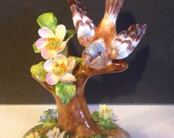 Crown Staffordshire England by J. T Jones designed. Robin bird perched on a tree.