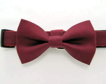Wedding dog collar-  Burgundy dog collar with bow tie set  (Mini,X-Small,Small,Medium ,Large or X-Large Size)- Adjustable