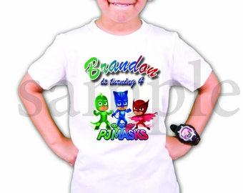 INSTANT DL- Pj Masks personalized Iron on Transfer Birthday Boy or girl , pj masks T Shirt  digital file - you print-