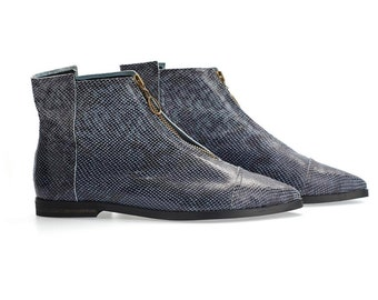 BLACK FRIDAY/CYBER Monday pre order Isabelle Blue animal print flat pointy ankle boots  handmade leather boots by Tamar Shalem