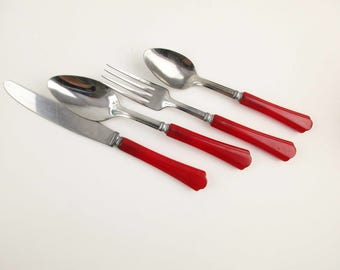 Four Piece Set of Red Handle Flatware - Stainless With Red Grips - Knife, Fork, Soup and Regular Spoon - Stainless Steel