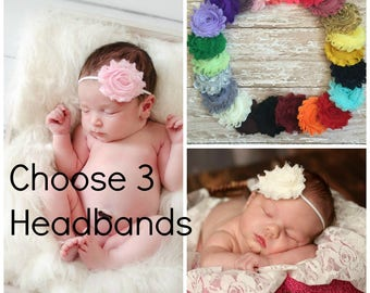 Pick 3 Shabby Chic Headbands, Newborn Headband, Baby Headbands, Headband, Baby Headband, Infant Headband, Baby