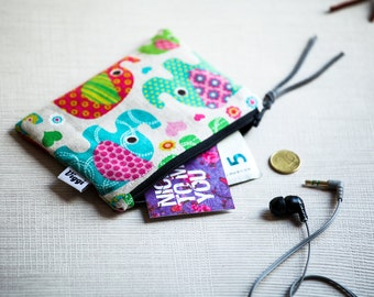 Elephant Wallet Women, Coin Purse for a Girl, Earbud Bag, Small Cable Organizer, Zipper Make Up Pouch, Cosmetic Case, Gift for Her