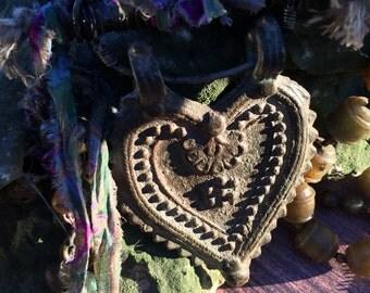 OOAK handmade heart ORISSA (India) Tibetan necklace by designer Susan Ray