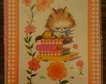 1970s Vintage Happy Birthday Sister Card cat orange books