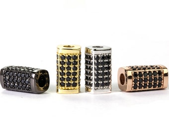 Micro Pave Tube Beads, Slider Beads with Black Cubic Zirconia Pave over Copper for 3mm Leather Cord, 14x7.3mm, Pkg of 1 PCS, B14A.RH38.P01