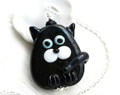 50%off SALE Solid Black Cat necklace, black Kitten, Cat Jewelry, Lampwork glass Cat, Adoptable, Cat lover gift, Pet Adoption, Cat lady