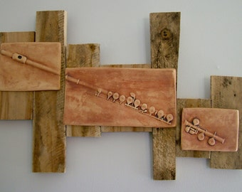 Flute Impression Triptych Wall Hanging