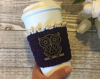 Owl Cup Cozy, Wood Owl Coffee Cozy, Owl Coffee/Tea Cozy