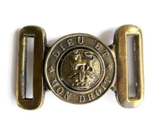 Vintage Dieu Et Mon Droit Brass Buckle British Military Style