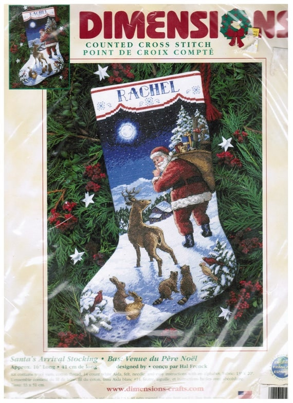 Cross Stitch Kit Dimensions Santa's Arrival Animals Xmas Christmas Stocking #8683