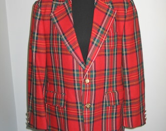 Vtg 1970s 1980s Wool Tartan Plaid Mens Blazer Jacket -Sport Coat Retro-Hipster-Disco