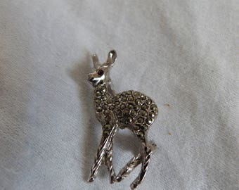 Vintage Marquesite Deer Brooch