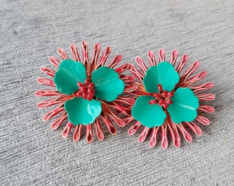 Pretty in Pink (&Teal) Vintage Flower Earrings PERFECT for Mother's Day