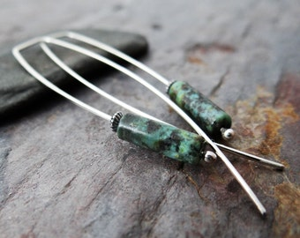 Jasper hook earrings || long sterling ear wires with grey, gold or turquoise stone beads (4231)