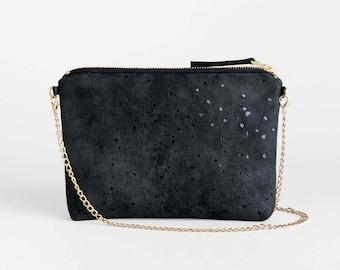 Black Evening Bag, Minimalist Clutch, Small Shoulder Bag, Shimmery Vegan Suede Clutch Purse with Chain Strap, Faux Suede Bag, Black Purse
