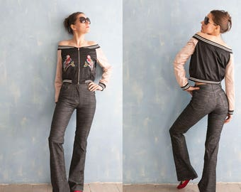 90s vintage high waist  dark grey  bootcut pants / stretch  fitted casual woman pants/ S