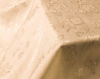 Sand Floral Jacquard Brocade Satin Fabric By the Yard Style 3006