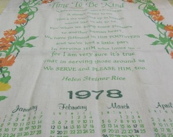 """Vintage 1978 Kitchen Towel, """"Take Time To Be Nice"""" Helen Steiner Rice, 317T"""