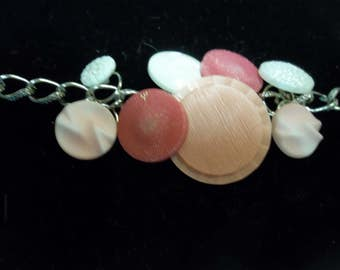 Vintage Button Charm Bracelet in Pink and White,Handmade, 317S