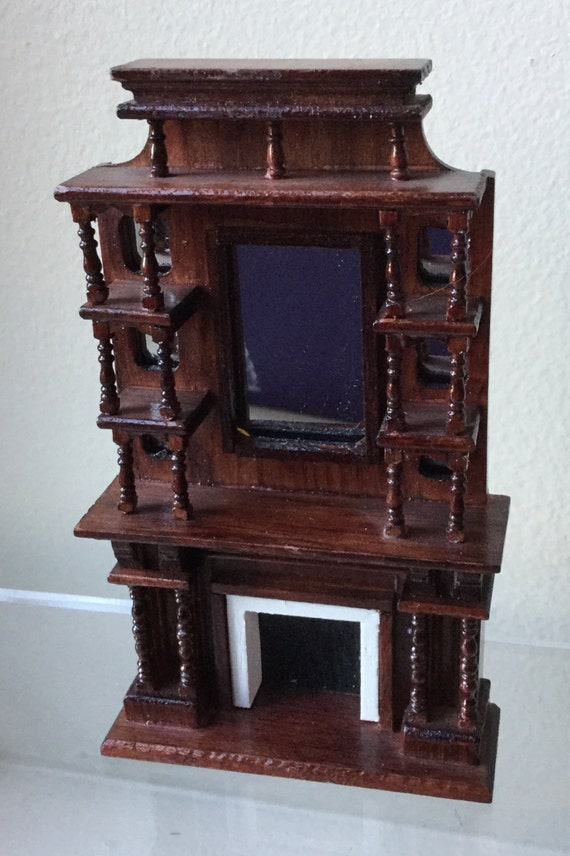 Dollhouse Miniature Half Scale Mahogany Color Fireplace AT