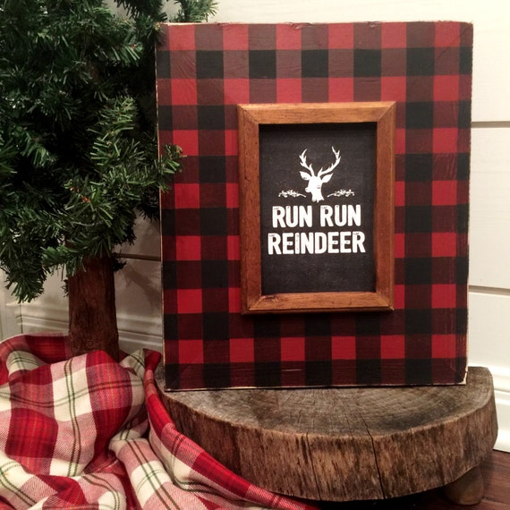 buffalo check woodsy distressed wood 5x7 picture frame red &