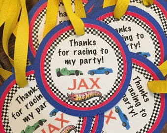 Race Car Hot Wheels Birthday Favor Tags-set of 10