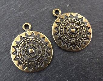 Ethnic Sun Mandala Round Disc Pendants - Antique Bronze Plated - 2PC