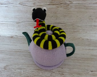 Knitted Tea Cozy Cosie Black and Green Striped Snake Shabby Chic