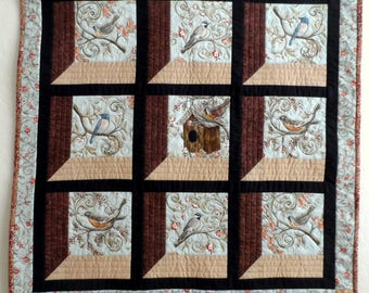 Birds wall quilt, quilted wall hanging, nature quilt, birdhouse quilt, blue, tan, brown, quiltsy handmade