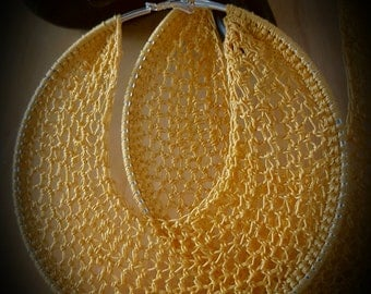 EXTRA LARGE Yellow Hoop Earrings 5 inches