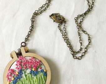 Embroidered necklace; Flower Garden Mini Hoop Necklace; garden necklace; flower necklace; spring necklace ; summer necklace