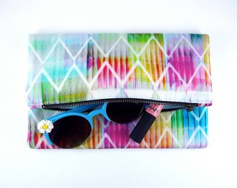 Geometric Purse, Foldover Clutch, Clutch Purse, Handbag, Gift For Her, Birthday Gift