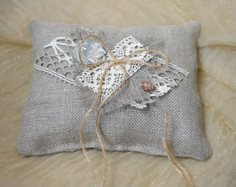 Ring Bearer Pillow Wedding Ring Pillow Shabby Chic Wedding Ring Cushion Bridal Pillow Burlap Pillow Burlap Lace Pearl Linen Outdoor Wedding