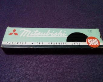 Mitsubishi pencils 12 pencils 6 H vintage new unsharped micro graphite lead one dozen original box 9800 Mitsubishi pencils made in Japan