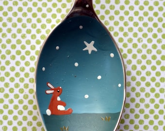 Vintage English Spoon Bunny Rabbit, baby christening gift, miniature landscape painting, folk art hanging, keepsake gift, wedding present
