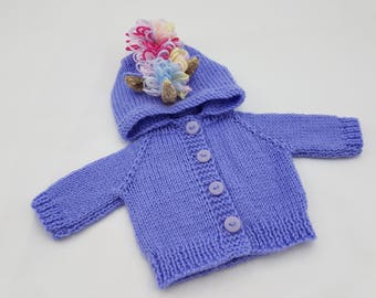 "Unicorn Waldorf Doll Hoodie / Sweater for 15"" Waldorf Doll / Unicorn / Rainbow / Purple / Lilac"