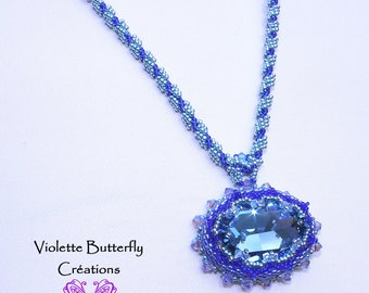 Necklace Adelisa Crystal Swarovski - Necklace Couture - Bead Weaving - luxury