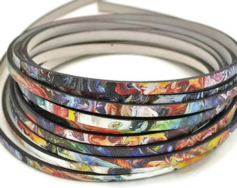 """5MM Flat Starry Night Inspired - High Quality Leather Cord - Made in Eu - Qty. 2ft/24"""""""
