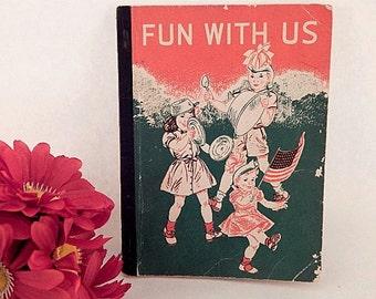 Fun With Us Children's Reader Vintage 1954 Third Level Pre-Primer Book Easy Reader Learn to Read Textbook Mid-Century  Baby Boomer Keepsake