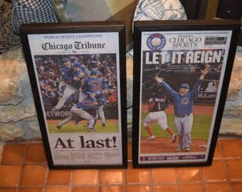 2 Chicago Cubs 2016 framed original newspapers World Series Champions solid rustic cedar Chicago Tribune